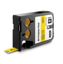 Dymo 1868771 XTL Label Cartridge, 1/2 Inch, Black on Yellow, Vinyl