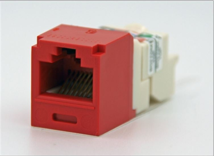CJ688TPRD, Panduit Mini-Com Modular Jack: TX6+, CAT6, RJ45 - Red (MOQ: 1; Increment of 1)