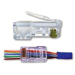 202010J EZ-RJ45 Modular Plug: 8 Position / 8 Conductor for Round, Solid or Stranded CAT6 Cable - Pass-Through