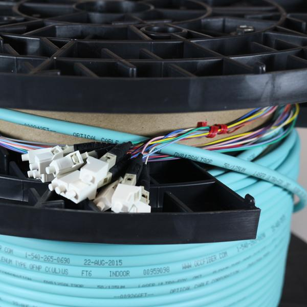 Non-Armored OM4 6 Fiber Pre-Terminated Fiber Optic Cable, Indoor/Outdoor, Plenum