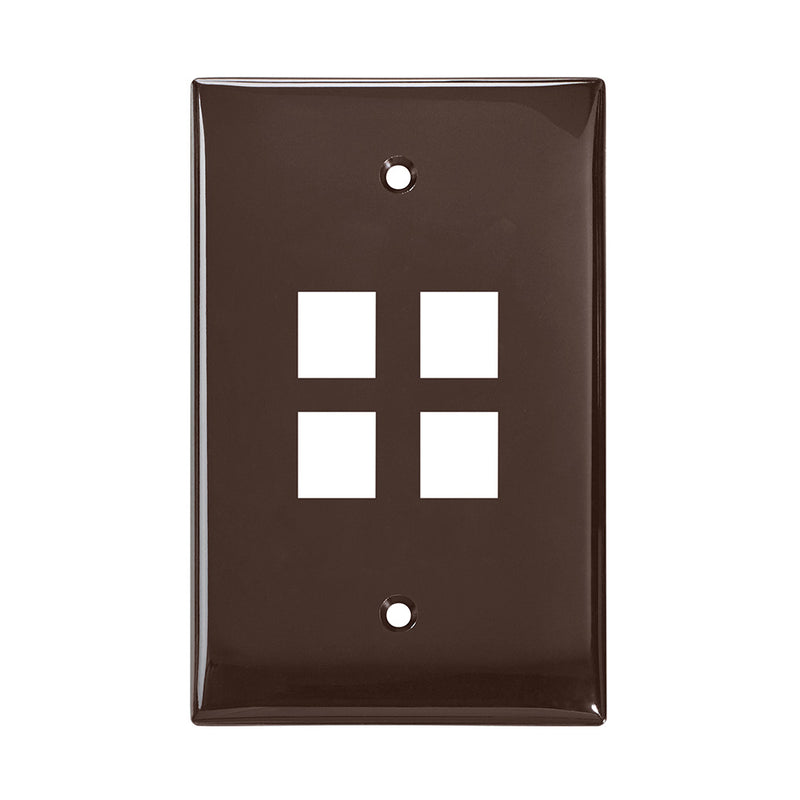41091-4BN LEVITON Wallplate, QuickPort, Midsize, Single-Gang, 4 Ports, Brown