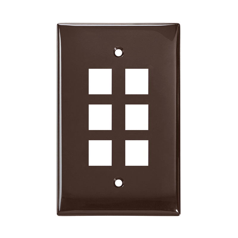 41091-6BN LEVITON Wallplate, QuickPort, Midsize, Single-Gang, 6 Ports, Brown
