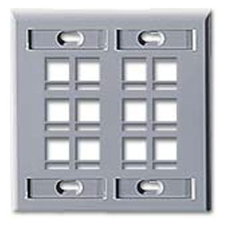 42080-12G LEVITON QuickPort Wallplate12-Port, Dual-Gang, Grey
