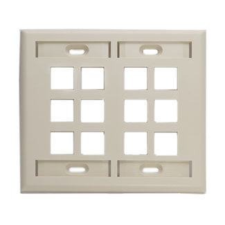 42080-12I LEVITON QuickPort Wallplate12-Port, Dual-Gang, Ivory