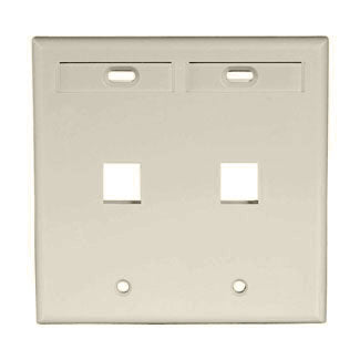 42080-2IP LEVITON QuickPort Wallplate 2-Port, Dual-Gang, Ivory