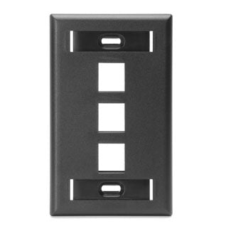 42080-3ES LEVITON QuickPort Wallplate 3-Port, Single-Gang, Black