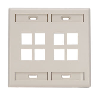 42080-8TP LEVITON QuickPort Wallplate 8-Port, Dual-Gang, Light Almond