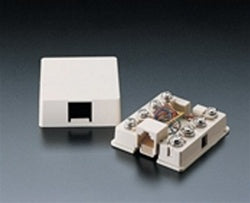 4625A-24I Surface Mount Biscuit Box: Leviton, RJ11, Screw Terminals - Ivory