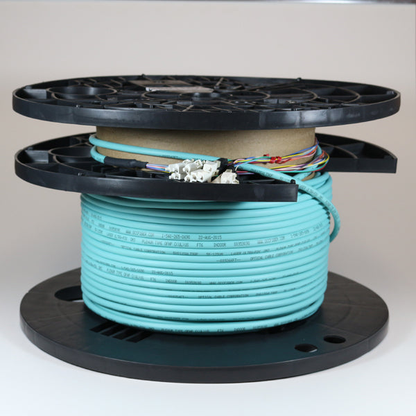 Armored OM4 12 Fiber Pre-Terminated Fiber Optic Cable, Indoor/Outdoor, Plenum