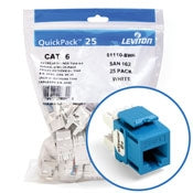 Leviton 61110-BL6 CAT6 RJ45 QuickPort eXtreme Jack Module, Blue, 25 Pack