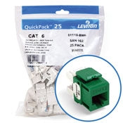Leviton 61110-BV6 CAT6 RJ45 QuickPort eXtreme Jack Module, Green, 25 Pack