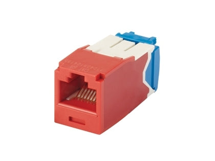 CJ6X88TGRD, Panduit Mini-Com | Module, Cat6A,UTP, 8-position, 8-wire, Unvi, Red (MOQ: 1; Increment of 1)