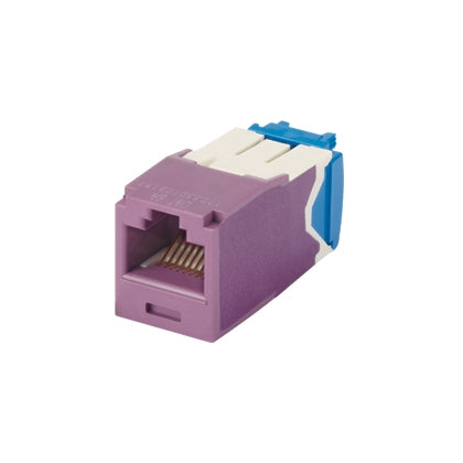 CJ6X88TGVL, Panduit Mini-Com |Module,Cat6A,UTP, 8-position, 8-wire, Unvi, Violet (MOQ: 1; Increment of 1)
