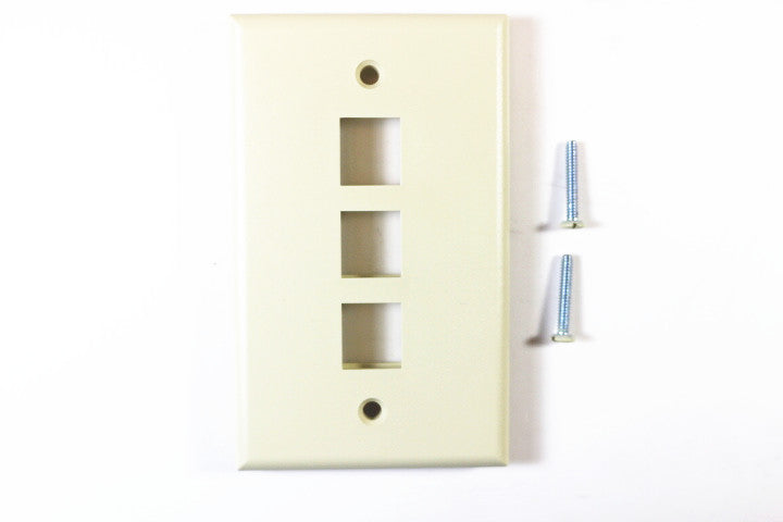 Leviton 41080-3IP QuickPort Faceplate,Ivory, 3 Port