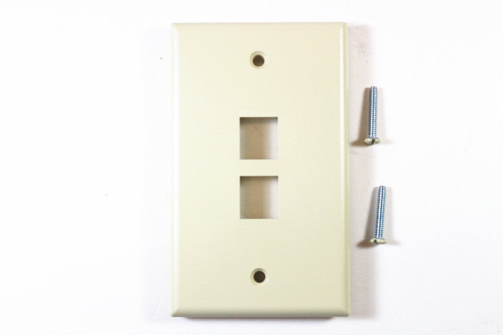 Leviton 41080-2IP QuickPort Faceplate, Ivory, 2 Port
