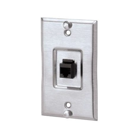 Panduit KWP5EY Mini-Com CAT5e RJ45 Wall Phone Faceplate, Stainless Steel