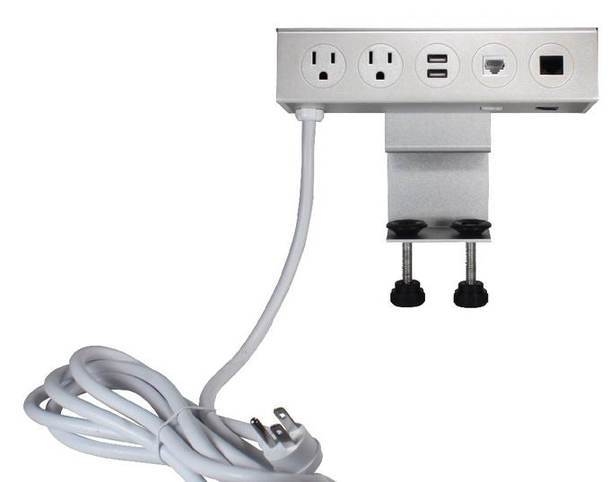 Adjustable Deskmount Dual-Power Outlets with Dual-USB 3.5Amp Charger & Dual-CAT6 Ports