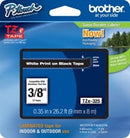 Brother TZe325 P-Touch Label Cartridge, 3/8 Inch, White on Black