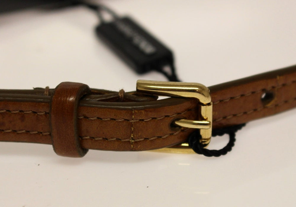 Load image into Gallery viewer, Brown Eel Leather Logo Belt