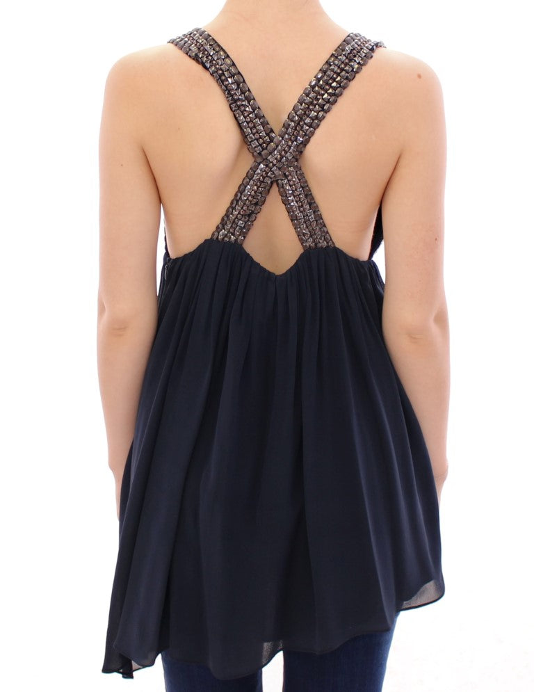 Load image into Gallery viewer, Navy Blue Studs Embellished Top Blouse