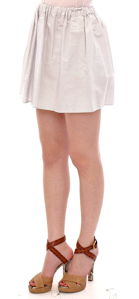 Load image into Gallery viewer, White Cotton Checkered Stretch Skirt