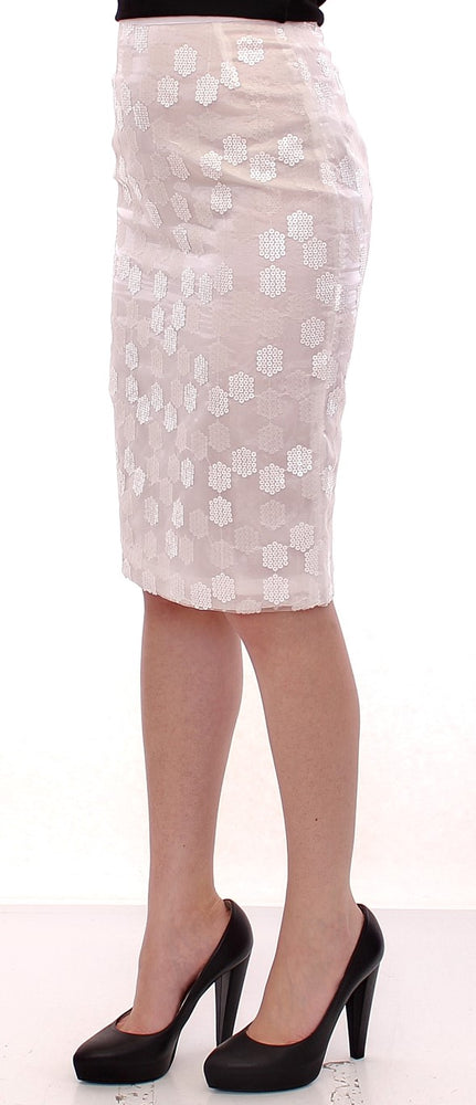 Load image into Gallery viewer, White Sequined Straight Pencil Skirt
