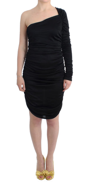 Load image into Gallery viewer, Black One Sleeve Pencil Dress