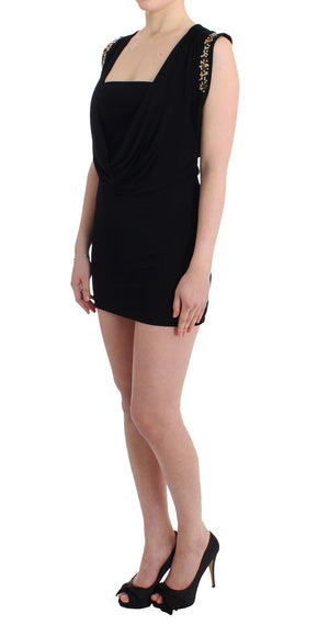 Load image into Gallery viewer, Black Embellished Jersey Mini Sheath Short Dress
