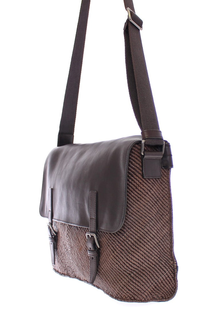Brown leather messenger bag - Go for Brands
