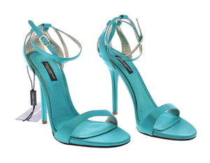 Load image into Gallery viewer, Blue Silk Ankle Strap Sandals Heels Shoes