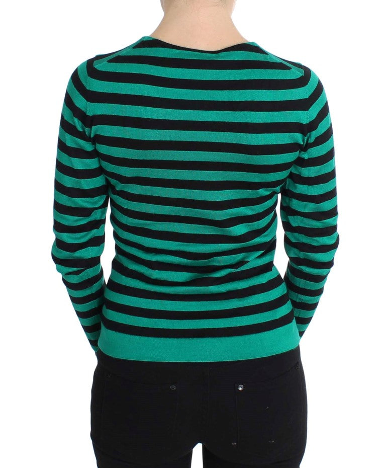 Load image into Gallery viewer, Green Black Silk Cashmere Sweater