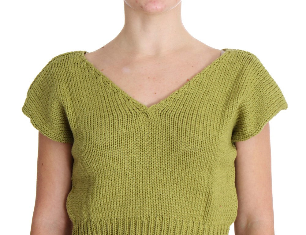 Load image into Gallery viewer, Green Cotton Blend Knitted Sleeveless Sweater