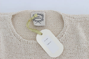 Load image into Gallery viewer, Beige Cotton Blend Knitted Sleeveless Sweater