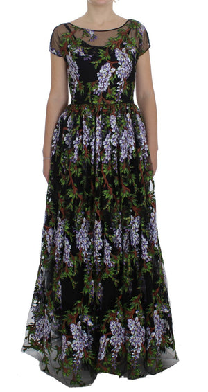 Load image into Gallery viewer, Black Floral Embroidered Full Maxi Dress