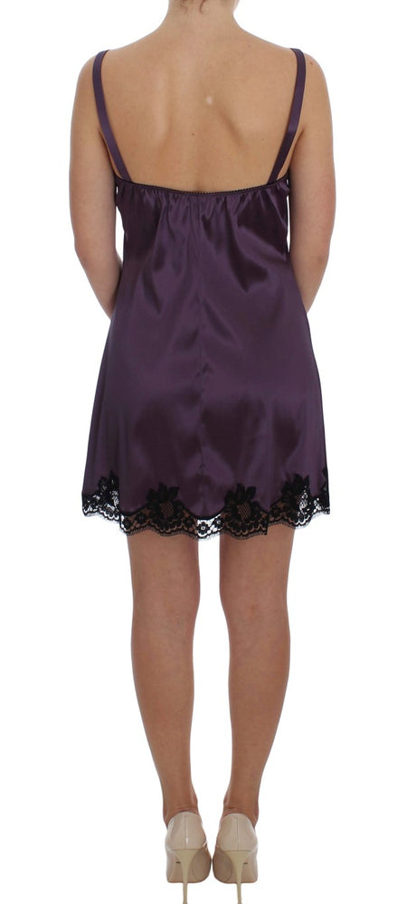 Load image into Gallery viewer, Purple Silk Black Lace Lingerie Dress
