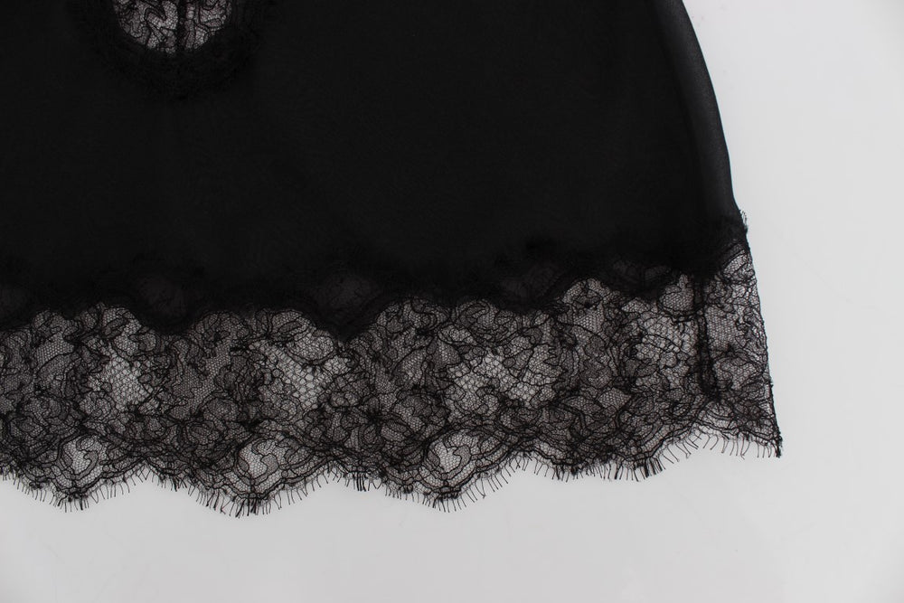 Load image into Gallery viewer, Black Silk Lace Babydoll Lingerie Top