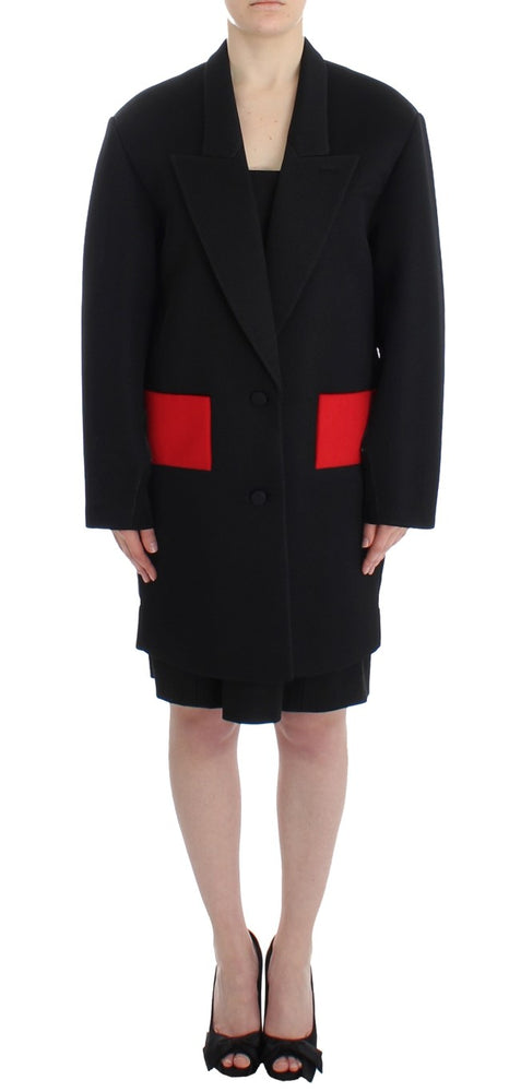 Load image into Gallery viewer, Black Coat Trench Long Draped Jacket Blazer