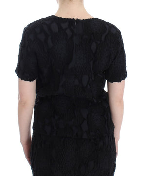 Load image into Gallery viewer, Black Jaquard Blouse Top Shirt