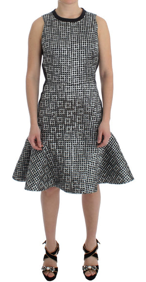 Load image into Gallery viewer, Silver Metallic Jaquard Fluted Hem Shift Dress