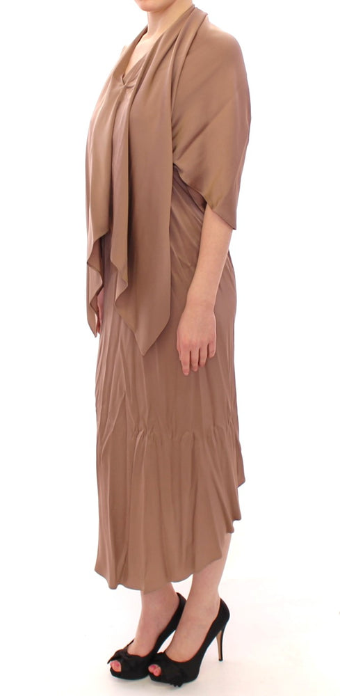 Load image into Gallery viewer, Brown Draped Silk Sheath Shift Coctail Dress