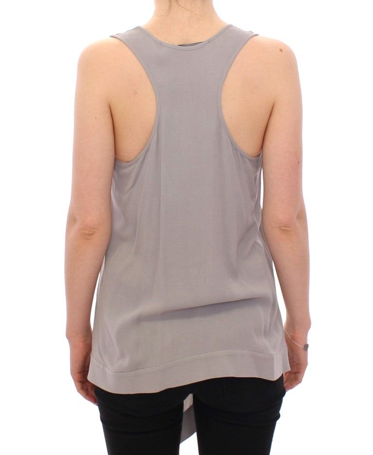 Load image into Gallery viewer, Gray Viscose Tank Top Shirt Blouse