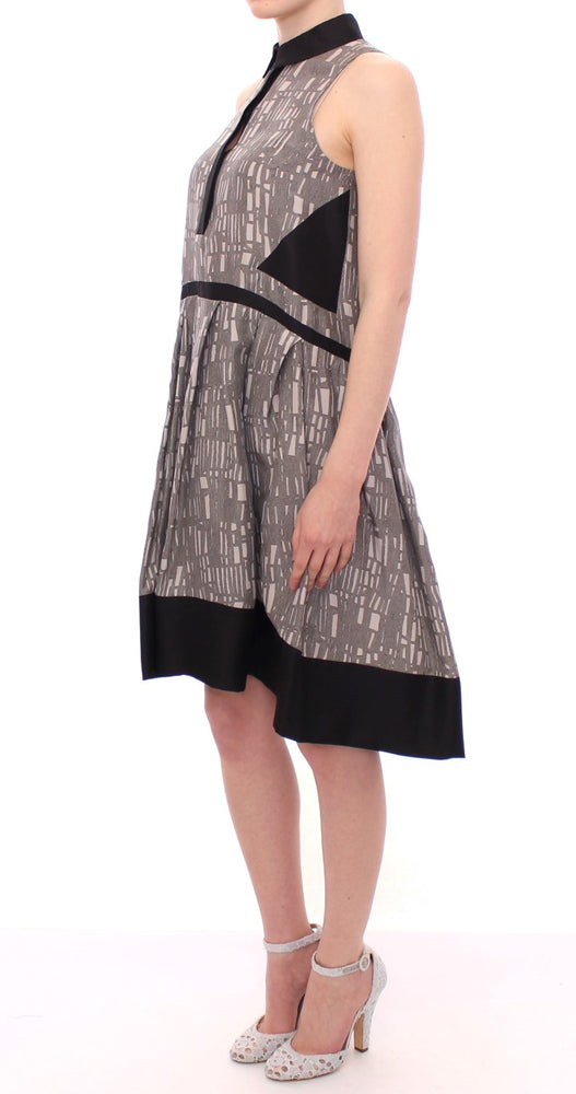 Load image into Gallery viewer, Black Gray Silk A-Line Shift Dress