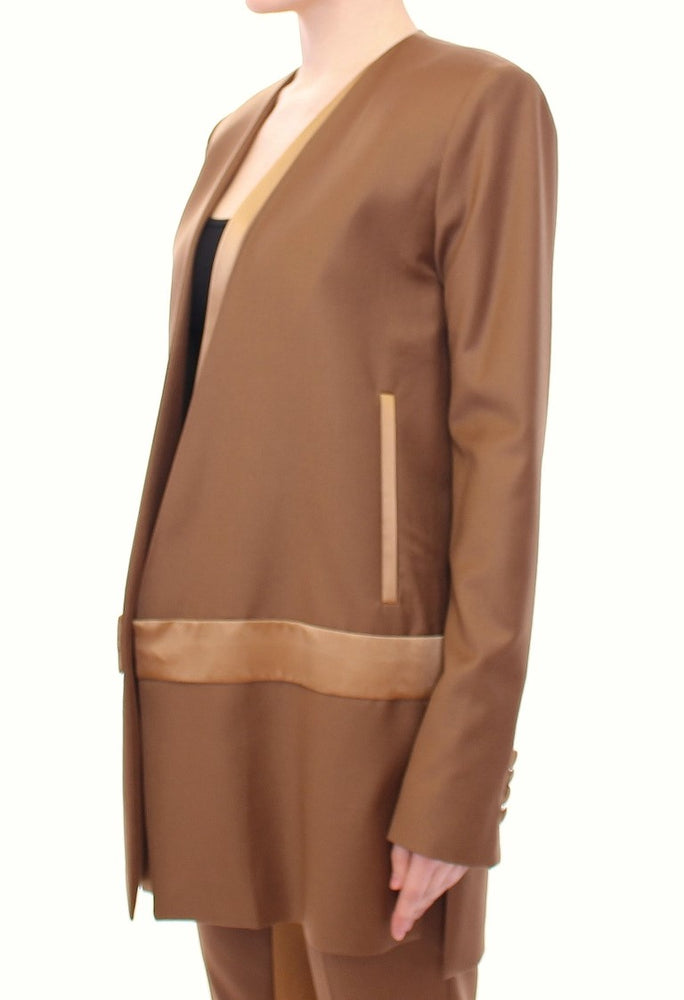 Load image into Gallery viewer, Brown Wool Silk Blazer Coat Jacket