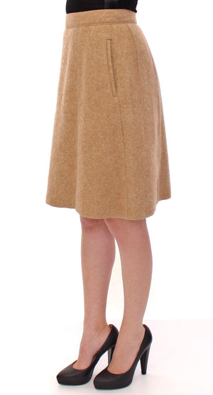 Load image into Gallery viewer, Beige Alpaca Above Knees Pencil Skirt