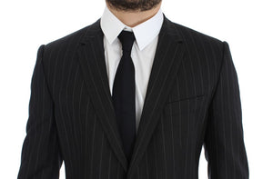 Load image into Gallery viewer, Gray Striped Slim Fit Wool Blazer