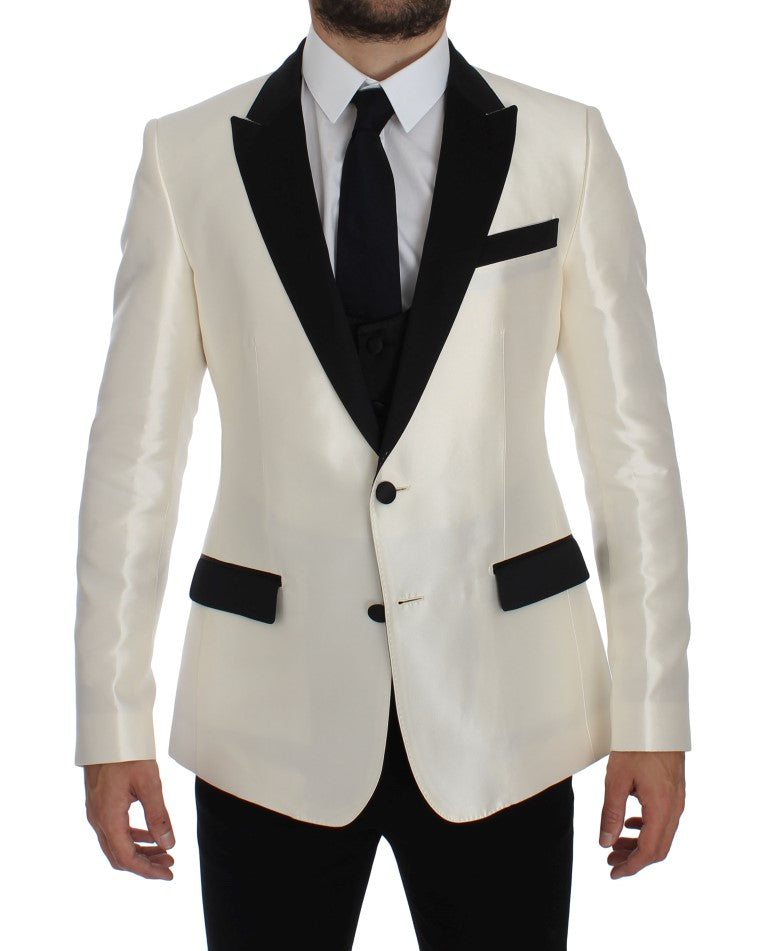 White Black Silk 2 Piece Blazer