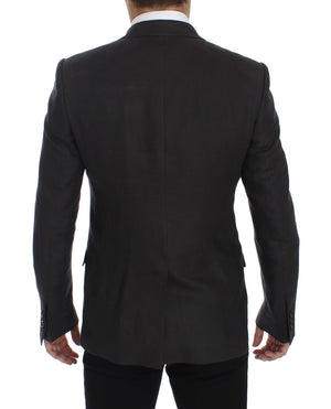 Load image into Gallery viewer, Gray Slim Fit Linen Blazer Jacket