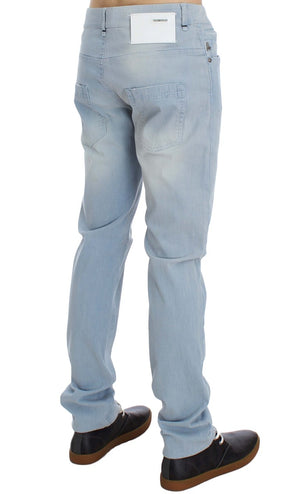Load image into Gallery viewer, Blue Denim Cotton Stretch Slim Fit Jeans