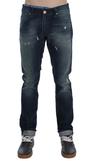Load image into Gallery viewer, Blue Wash Cotton Denim Slim Fit Jeans
