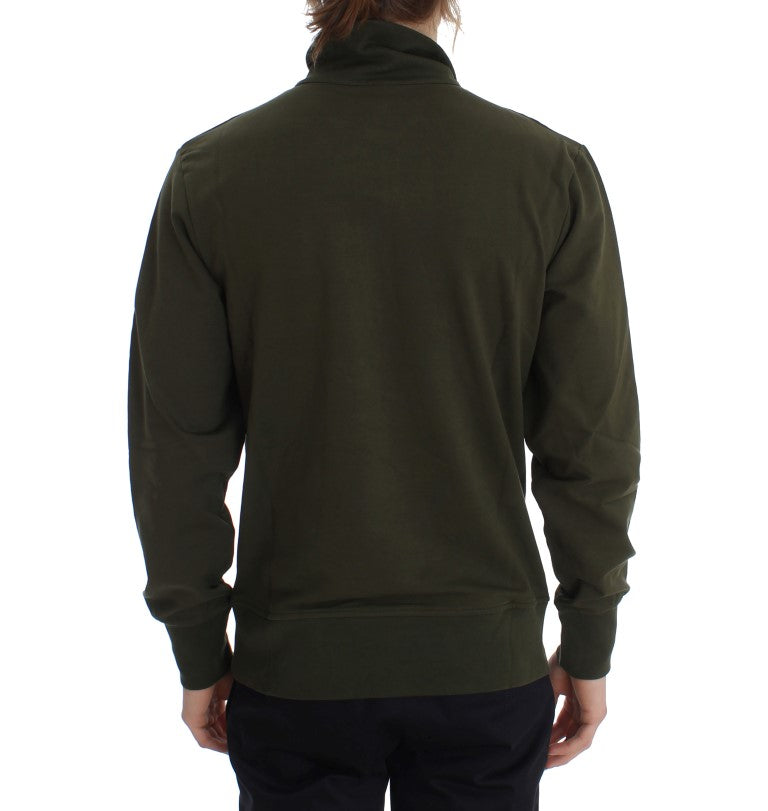 Load image into Gallery viewer, Green Cotton Stretch Half Zipper Sweater